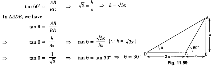 Some Applications of Trigonometry Class 10 Extra Questions Maths Chapter 9 with Solutions Answers 60