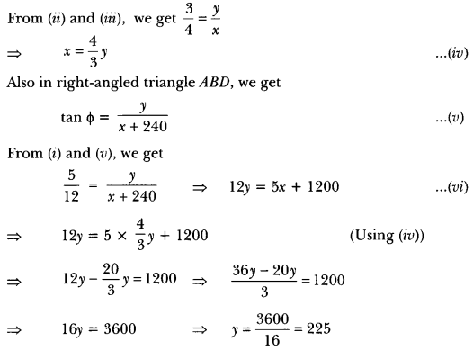 Some Applications of Trigonometry Class 10 Extra Questions Maths Chapter 9 with Solutions Answers 33