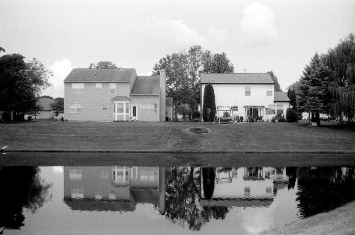 Reflected houses, overexposed
