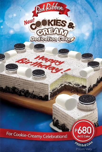 Red Ribbon Cookies & Cream Dedication Cake