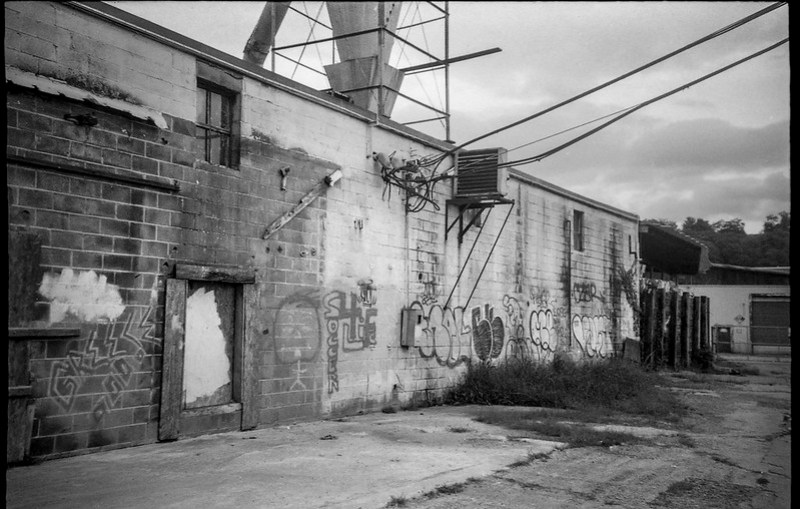 urban decay, architecture, Asheville Waste Paper Company, Asheville, NC, Leica C1, Fomapan 200, Moersch Eco film developer, late August 2020 (1 of 1)