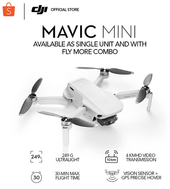 DJI Mavic Mini-Drone FlyCam Quadcopter UAV 2.7K Camera 3-Axis Gimbal GPS Single or w Fly More Combo