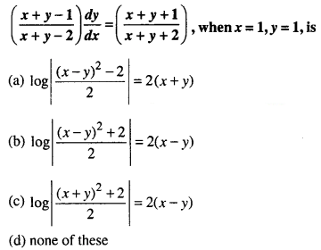 Maths MCQs for Class 12 with Answers Chapter 9 Differential Equations Q24