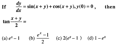 Maths MCQs for Class 12 with Answers Chapter 9 Differential Equations Q32