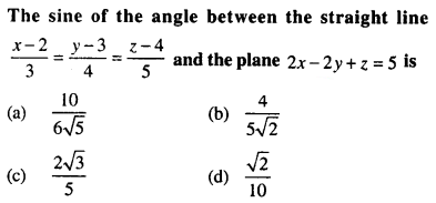 Maths MCQs for Class 12 with Answers Chapter 11 Three Dimensional Geometry Q71