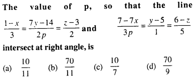 Maths MCQs for Class 12 with Answers Chapter 11 Three Dimensional Geometry Q36