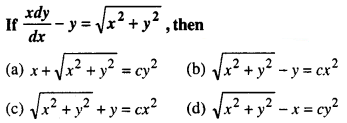 Maths MCQs for Class 12 with Answers Chapter 9 Differential Equations Q51