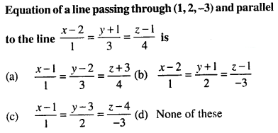 Maths MCQs for Class 12 with Answers Chapter 11 Three Dimensional Geometry Q34