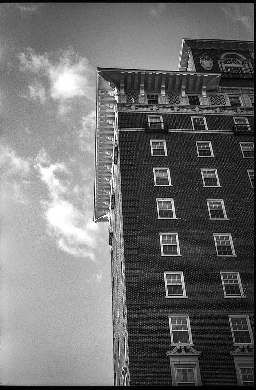 Battery Park Hotel (now senior apartments), architecture, clouds, downtown, Asheville, NC, Minolta XG-M, Fomapan 200, HC-110 developer, 9.13.20