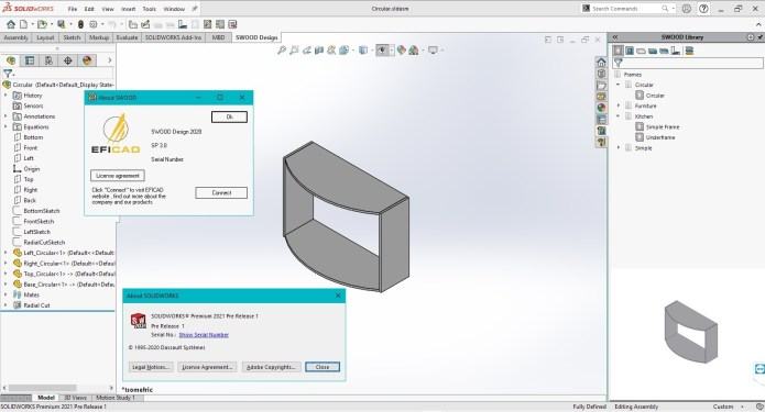 Working with EFICAD SWOOD 2020 SP3.0 for SolidWorks 2021 full