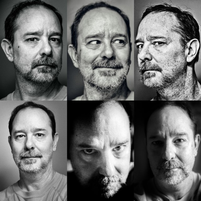 Six black and white photos of John Scalzi, in various poses.