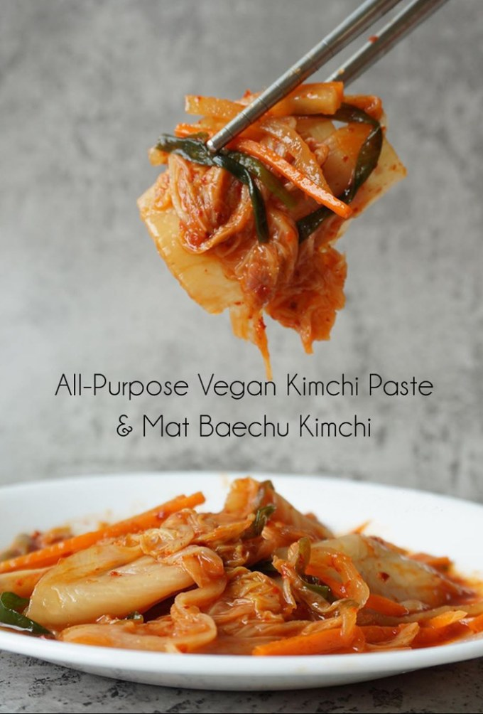 All-Purpose Vegan Kimchi Paste and Mat Baechu (Simple Cabbage) Kimchi