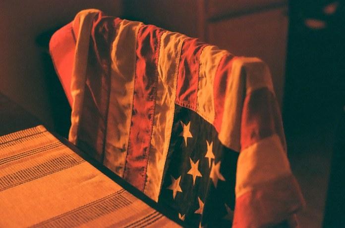 Draped flag
