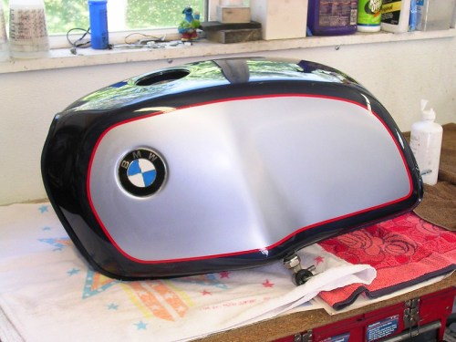 Red Stripe Applied To Gas Tank