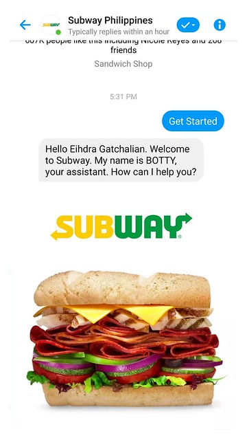 Subway Philippines Online Ordering via Messenger