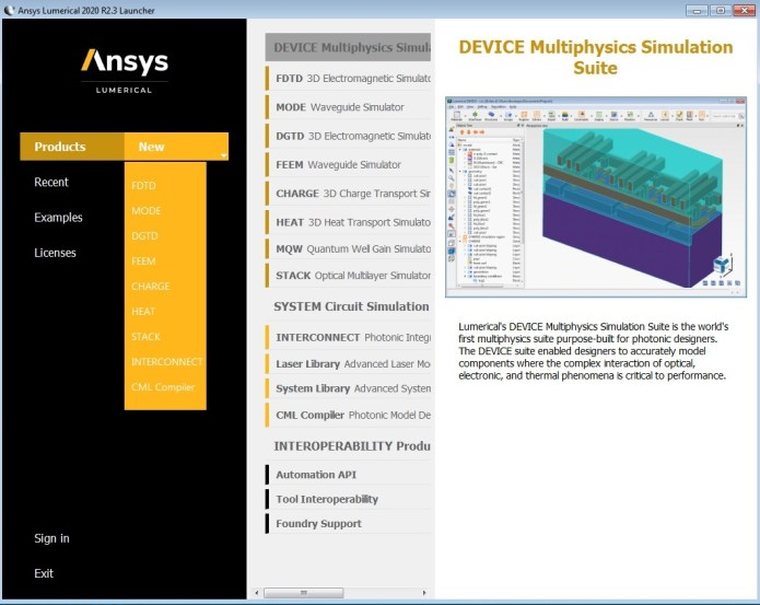 Working with ANSYS Lumerical 2020 R2.3 full license