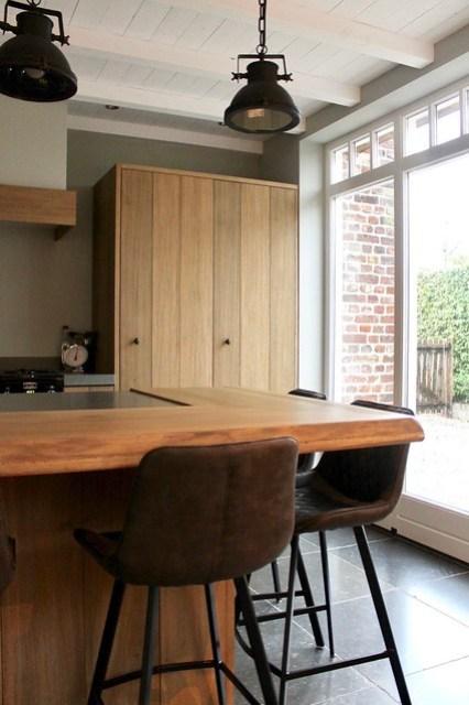 Leren barstoelen houten keuken ontbijtbar