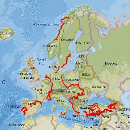 This map shows most of the cycling I've done in Europe and Turkey as of the end of October 2017.  I think the month with Topher in The Netherlands is missing. by bryandkeith on flickr