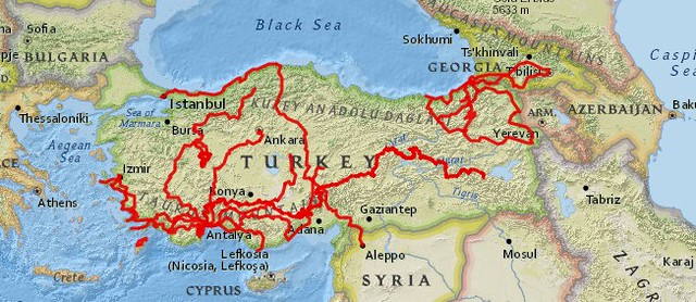 This map shows all the bicycle touring that I've done in Turkey through the end of October 2020. by bryandkeith on flickr