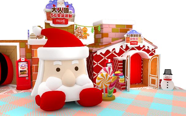 4米高巨大聖誕老人頭卡在煙囪中間動彈不得,擺出無奈表情引人發笑