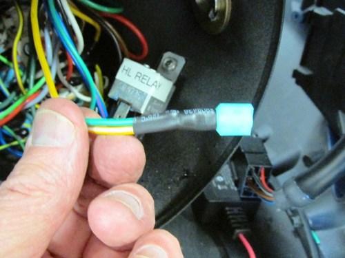 Spliced Power Lead (GREEN) Into Headlight Relay Power Lead (YELLOW-White)