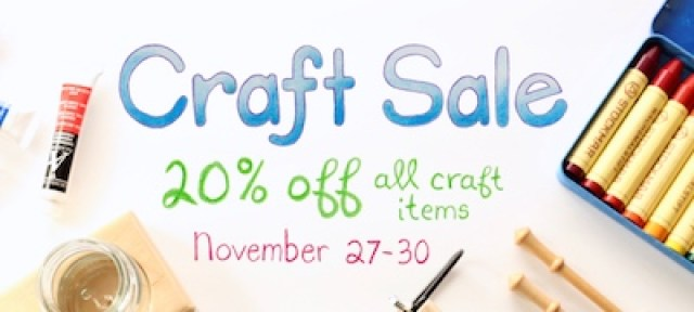 "Graphic with images of art supplies with the words ""Craft Sale 20% Off November 27-30"" overlay."