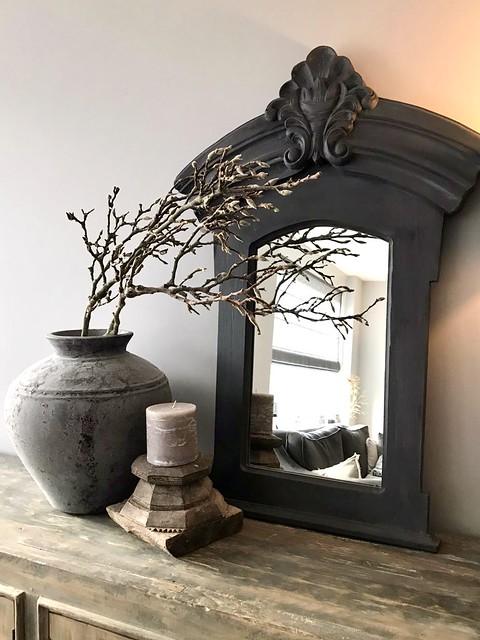 Landelijke spiegel kruik met takken houten poer