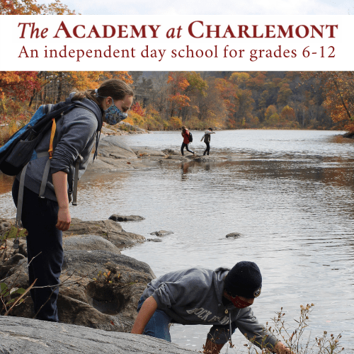 "High school students involved in experiential learning in an outdoor class with the text, ""The Academy at Charlemont"" overlay."