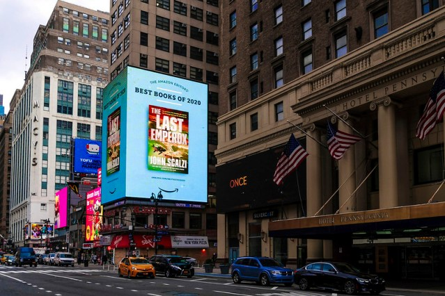 A big ad for my book on 34th street in New York City.