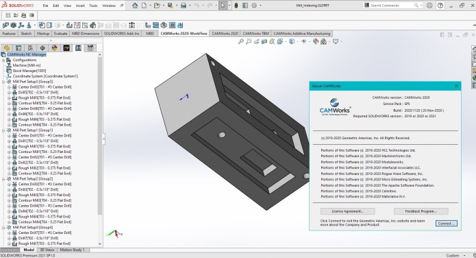 Working with CAMWorks 2020 SP5.0 Build 2020.11.23 for solidworks 2021 full