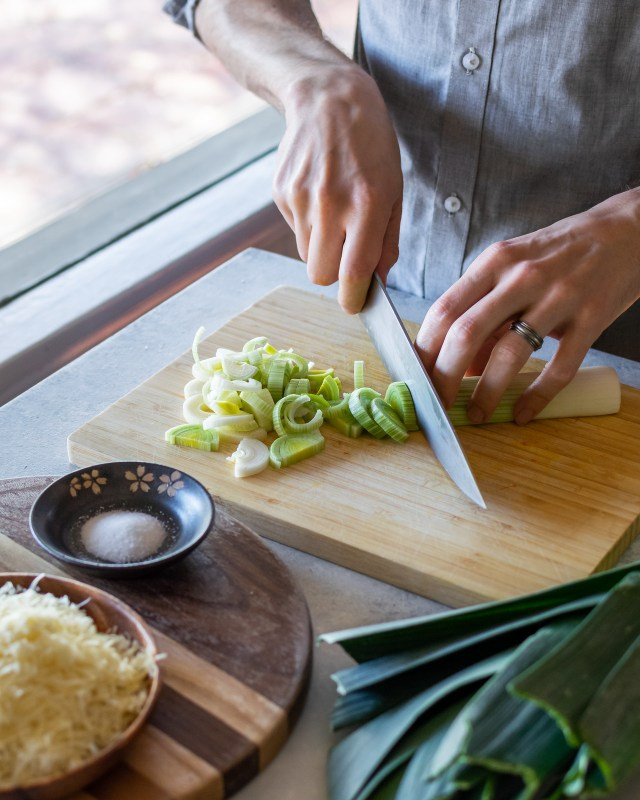 when cooking with leeks, discard the dark green leaves before slicing