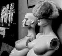 Mannequins with fur hat