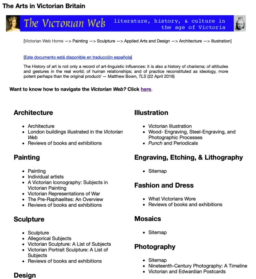 The Victorian Web a 'pre-internet' site on Victorian History