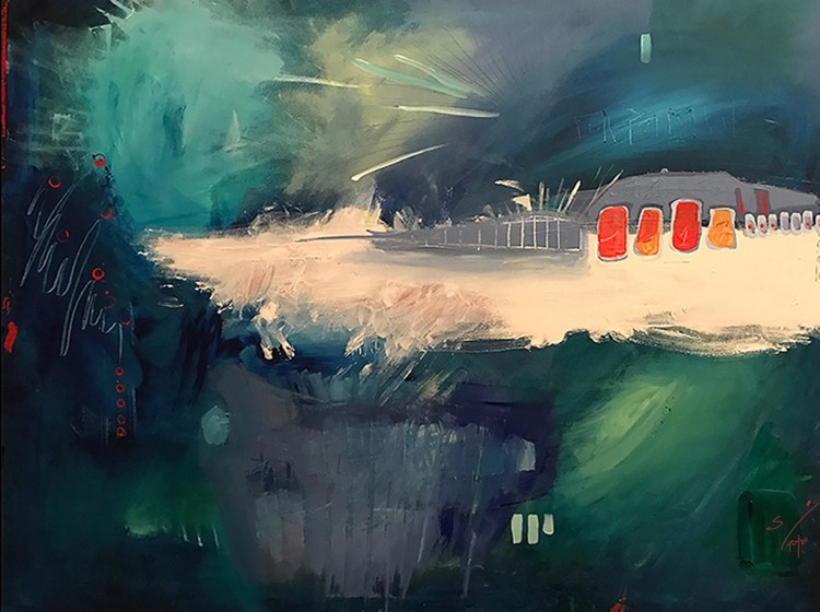 Fireworks in NYC - a new abstract contemporary expressionism fine art painting during the pandemic by nyc artist sarah gilbert fox
