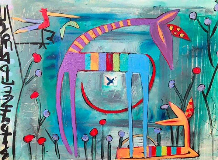 An original contemporary abstract figurative painting with mark makings, giraffes, birds by NYC artist, Sarah Gilbert Fox