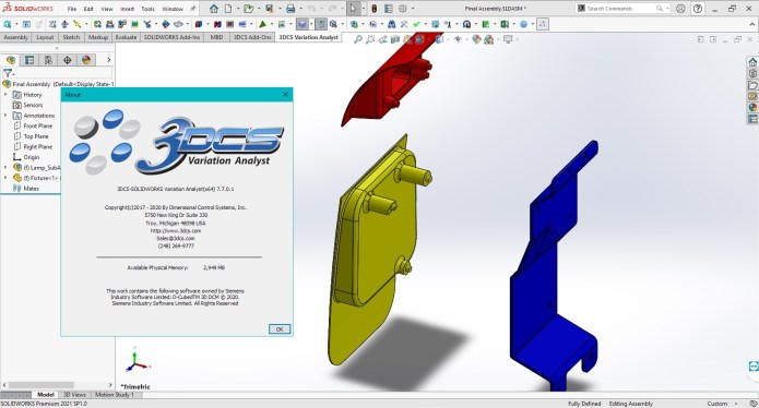 Working with 3DCS Variation Analyst 7.7.0.1 for SolidWorks 2021 full