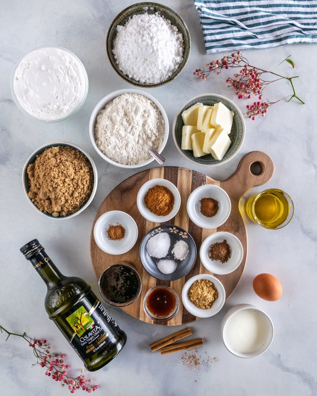 all the ingredients to make gingerbread whoopie pies