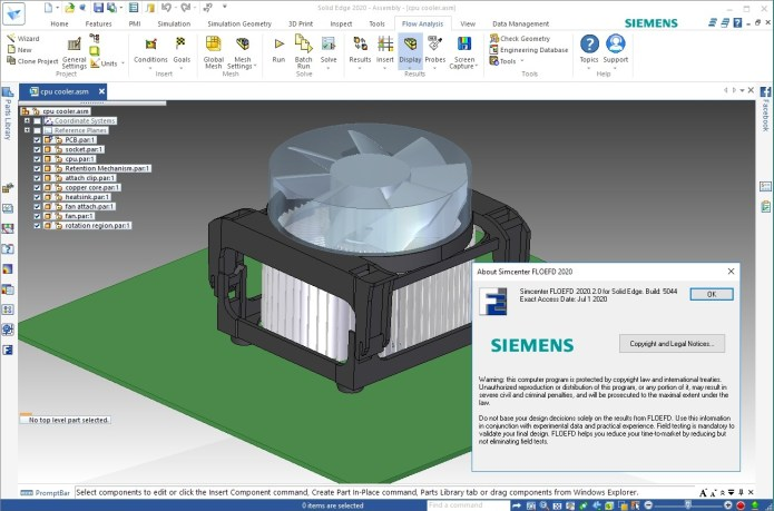 Working with Siemens Simcenter FloEFD 2020.2.0 v5054 for Solid Edge full