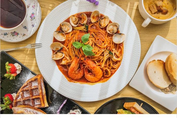 台中大里美食   Lycka Coffe 幸福手沖咖啡輕食館,超推薦冰淇淋吐司磚、季節水果鬆餅、手沖精品咖啡、茄汁海鮮義大利麵。