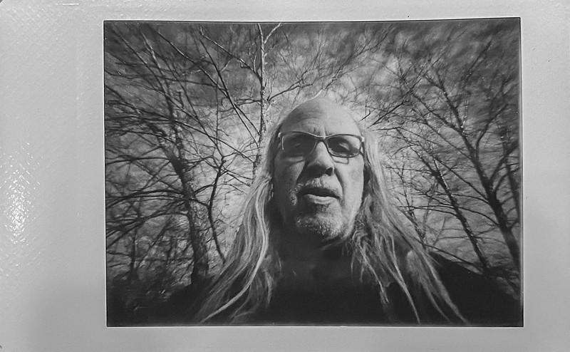 self portrait, trees, sky, Biltmore Estate, Asheville, NC, Lomo'Instant, Instax Mini Monochrome film, 12.29.20