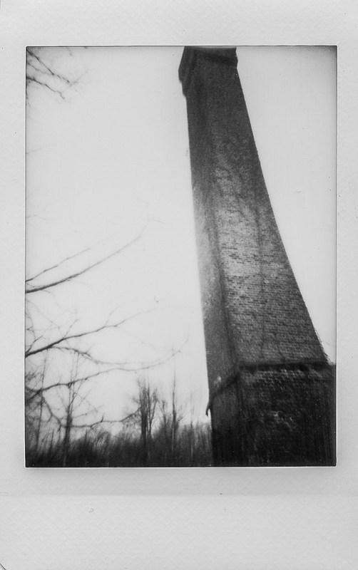 smokestack, abandoned mill, brick urban decay, winter landscape, near dusk, River District, Asheville, NC, Lomo'Instant, Fujifilm Instax Mini Monochrome, 12.31.20