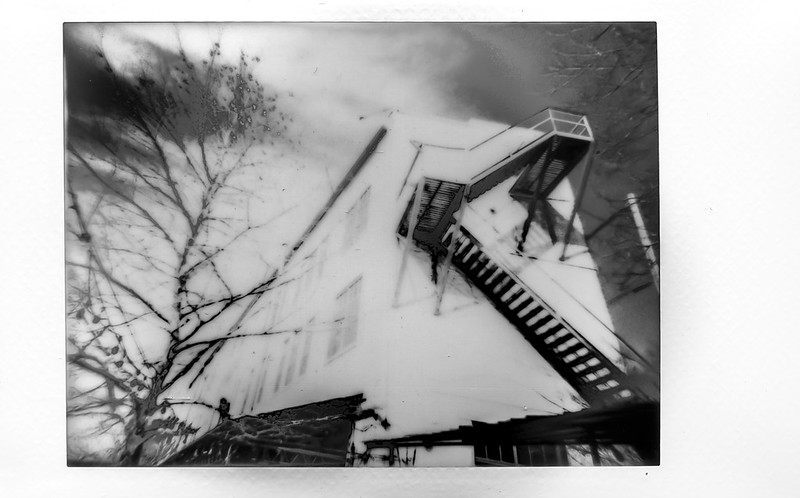 looking up, architecture, fire escape, backlit tree, River Arts District, Asheville, NC, Lomo'Instant, Instax Mini Monochrome, 1.7.21