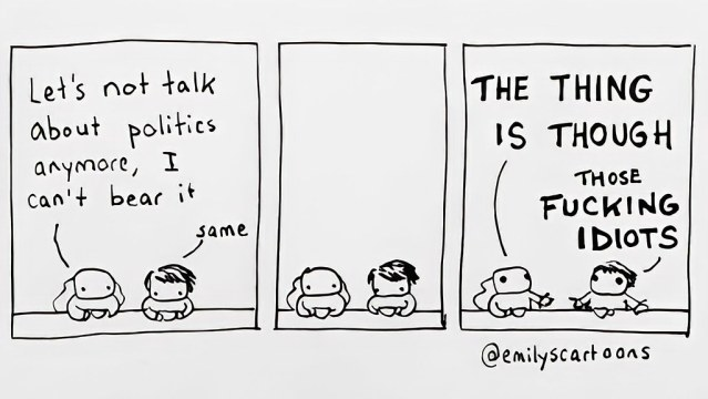 Picture in which people who do not want to talk about politics talk about politics
