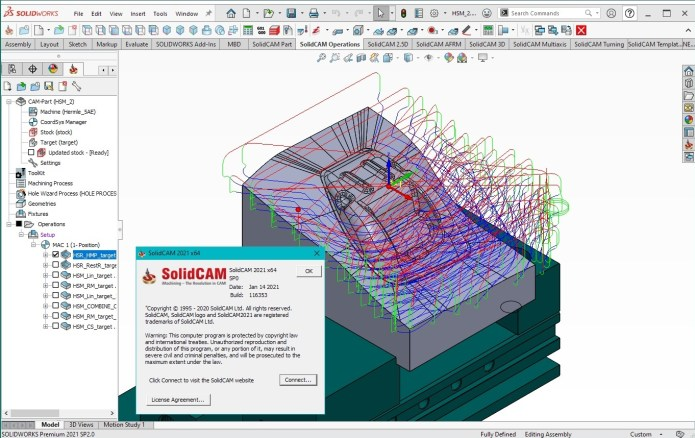 Working with SolidCAM 2021 SP0 for SolidWorks 2021 full