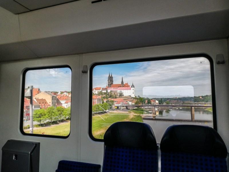 Meissen Albrechtsburg as seen from the suburban train towards Dresden JoyDellaVita