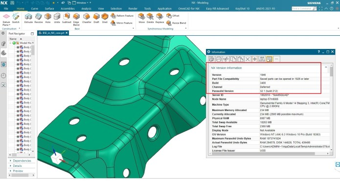 Working with Siemens NX 1946 Build 3400 full license