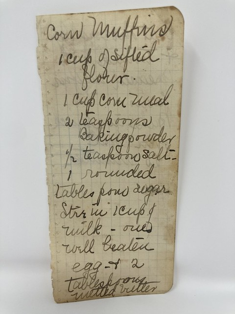 A handwritten corn muffin recipe.
