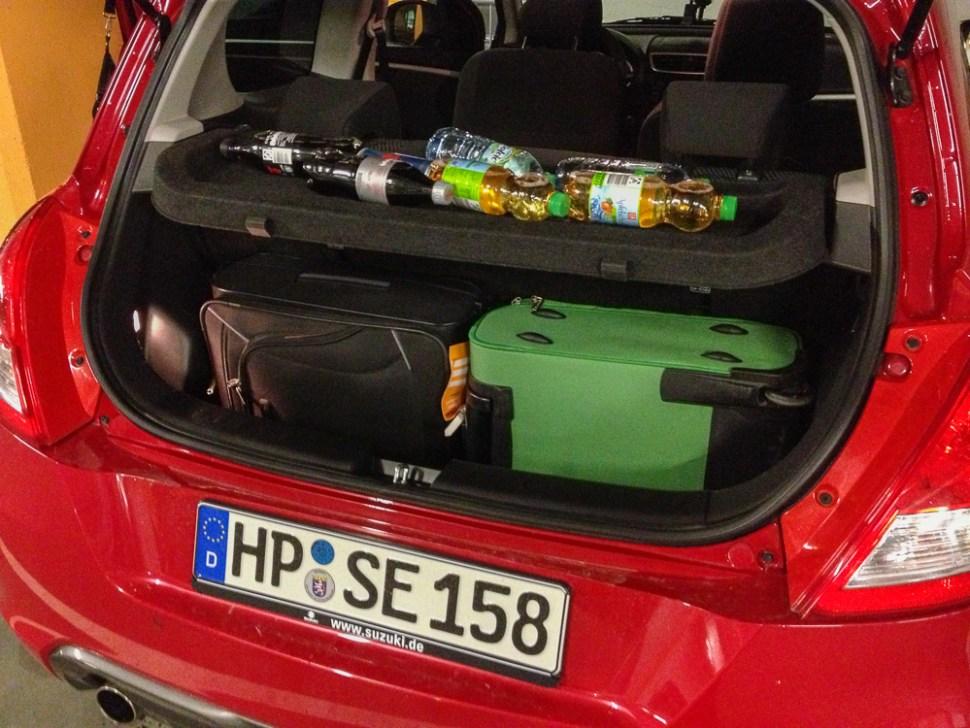 Suzuki Swift Sport Luggage for a weekend getaway
