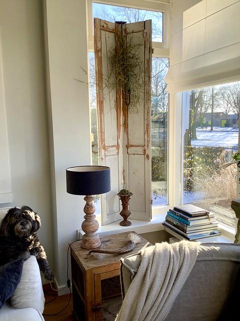 Brocante luik vensterbank boeken balusterlamp vouwgordijn hondje