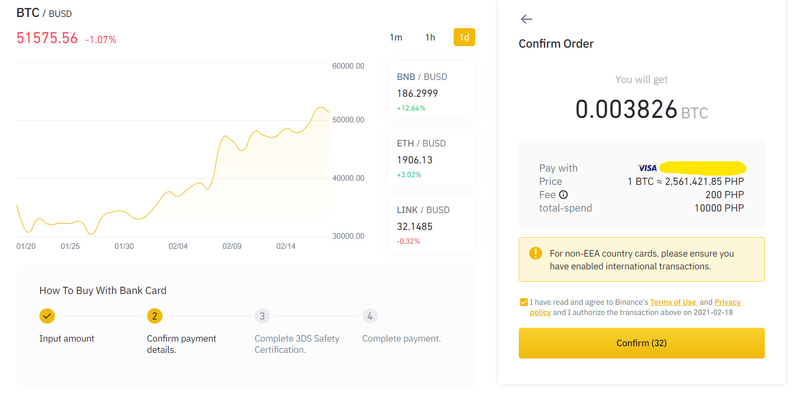 sample visa buy crypto with binance